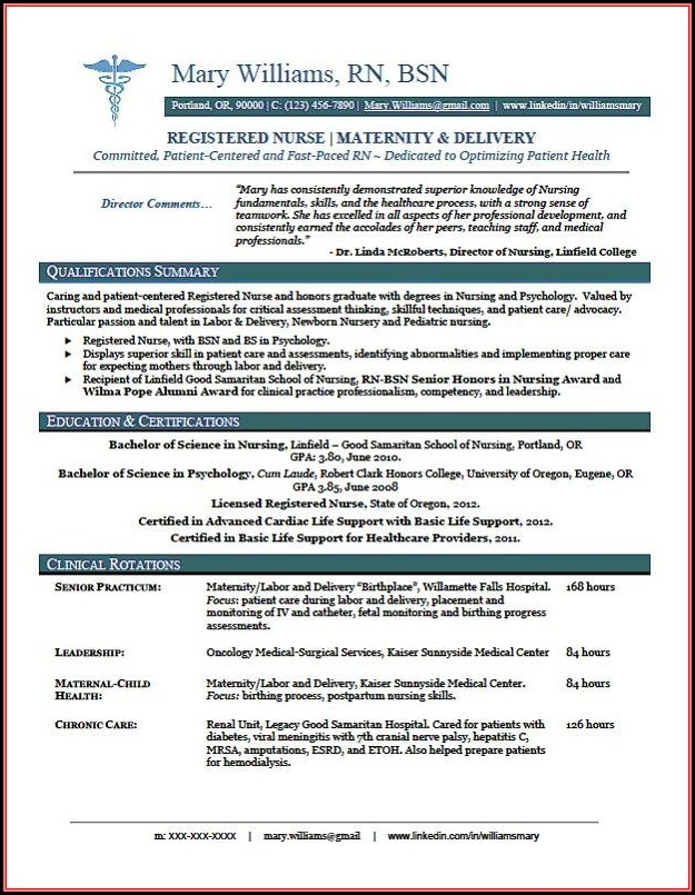 Free Resume Templates Nursing