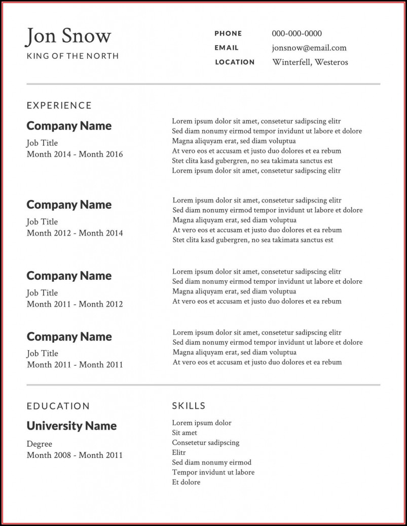 Free Resume Templates Samples Online