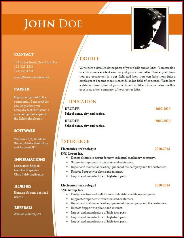 Free Resume Word Document Templates