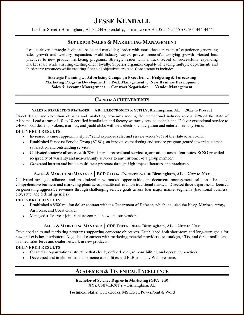 Free Sales Resume Templates Microsoft Word