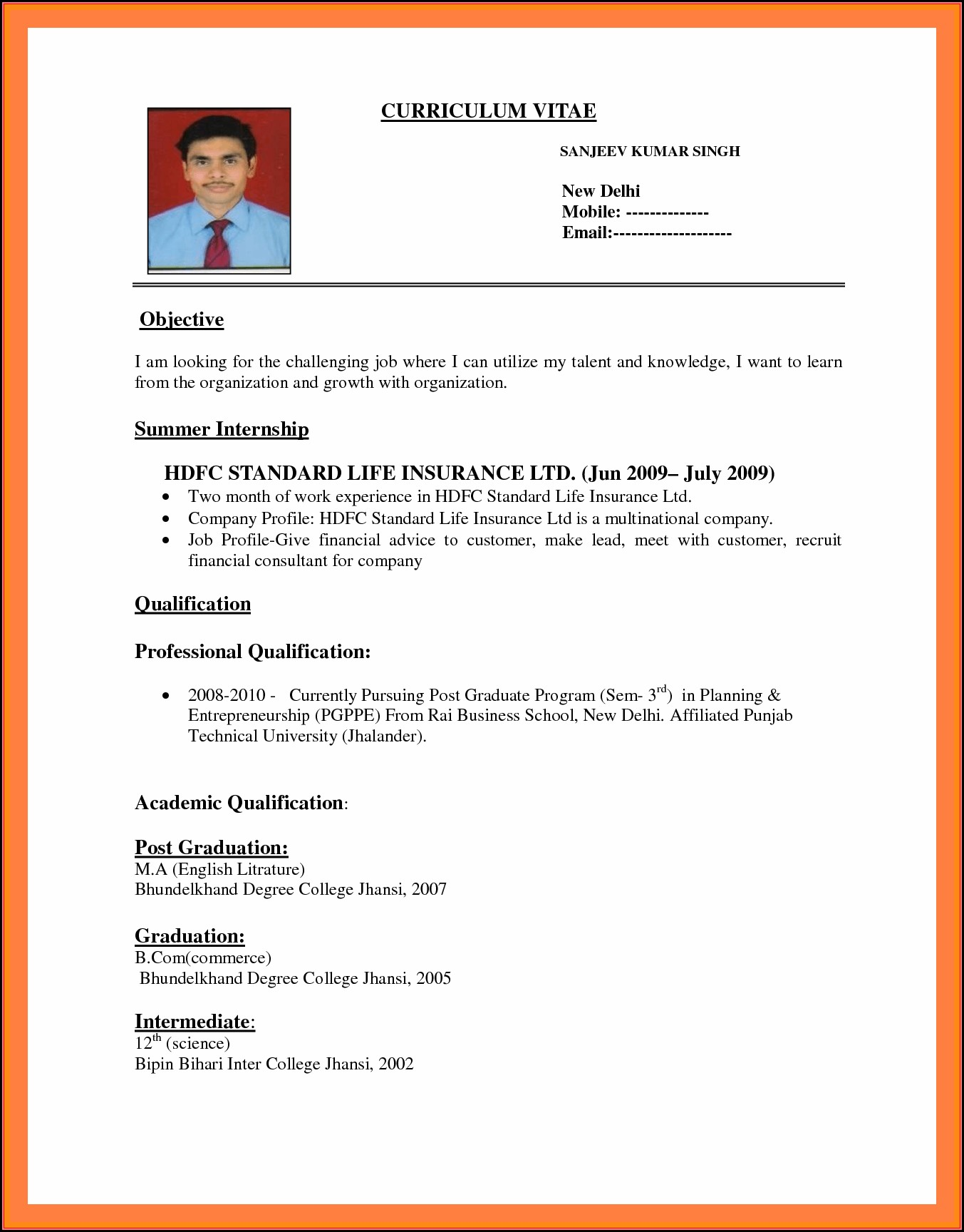 How To Make The Resume For Job