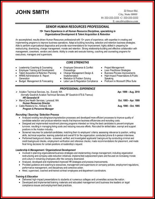 Human Resources Manager Resume Examples Free