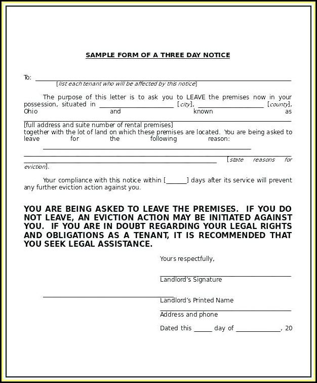 Florida 3 Day Eviction Notice Form Pdf