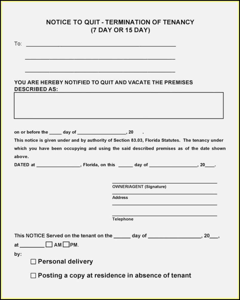 Florida Eviction Notice Form Pdf