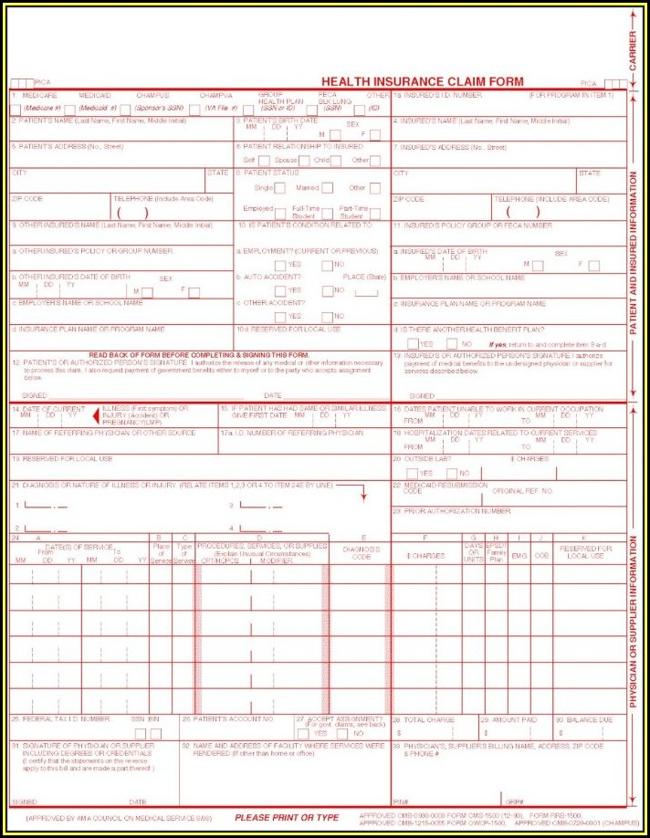 Form Cms 1500 Free Download