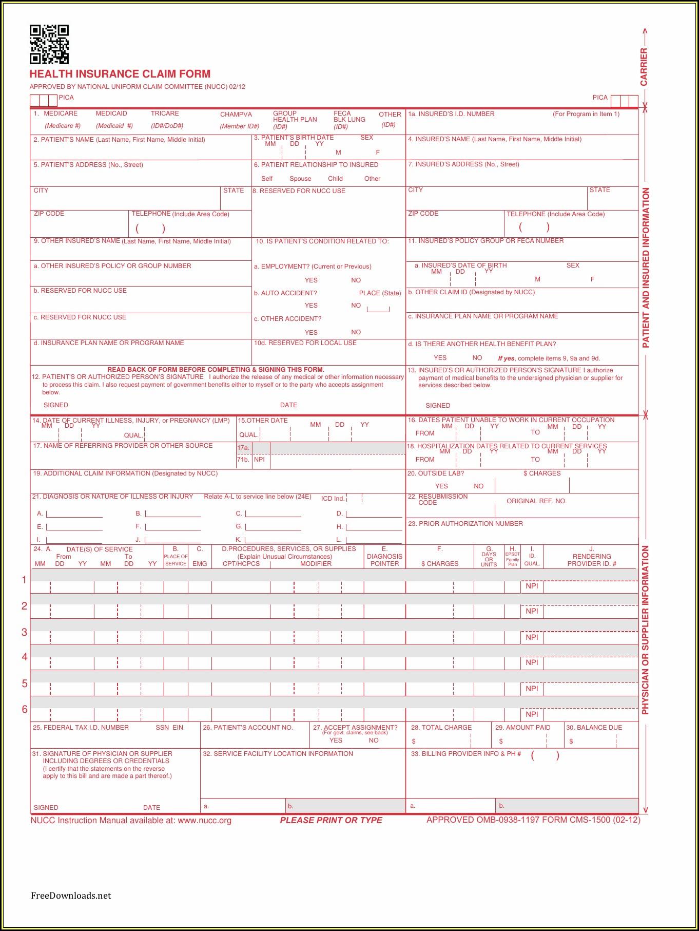 Form Cms 1500 Pdf