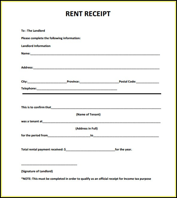 Free Download Rent Receipt Format India