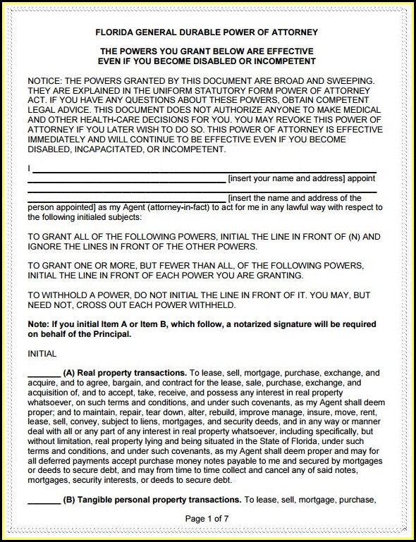 Free Durable Power Of Attorney Form Florida Pdf