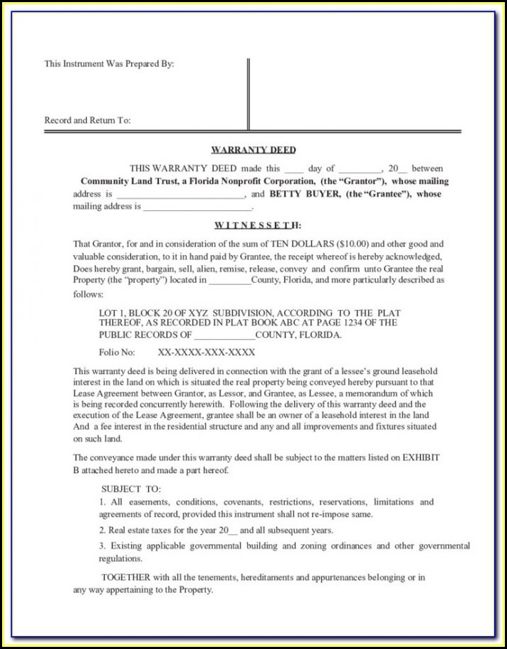 Free Florida Warranty Deed Template