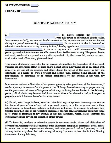 Free General Power Of Attorney Form Georgia