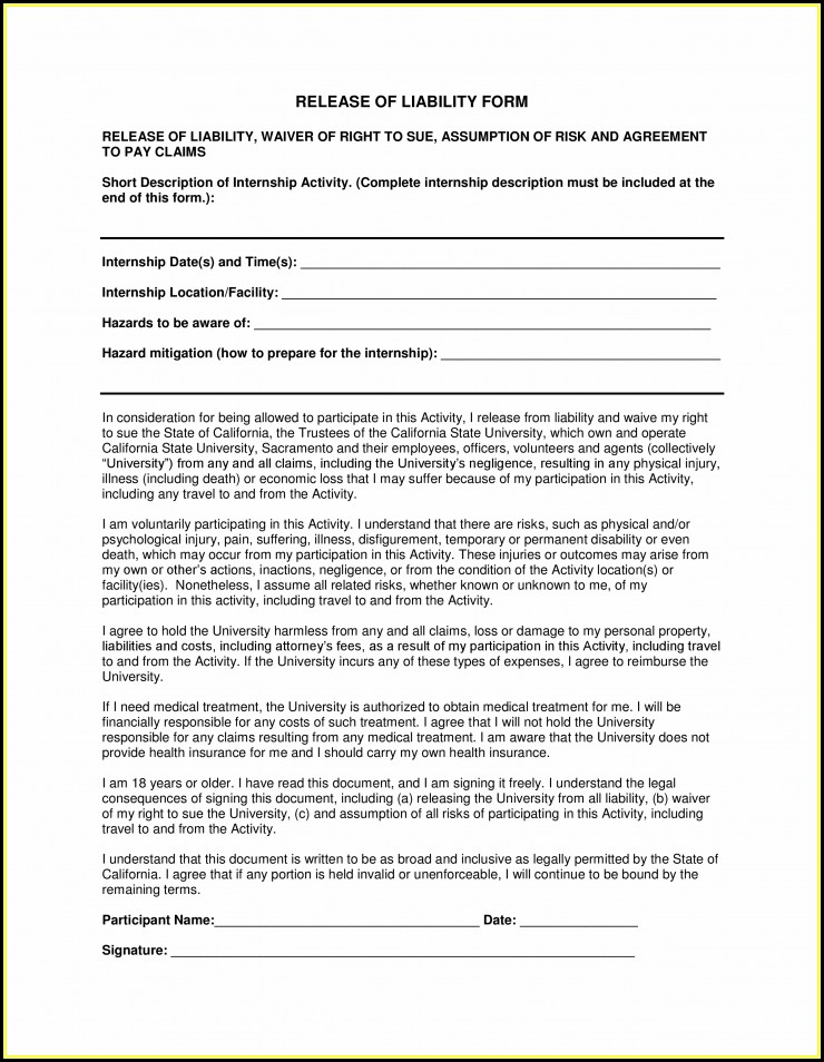 Free Liability Release Forms Pdf