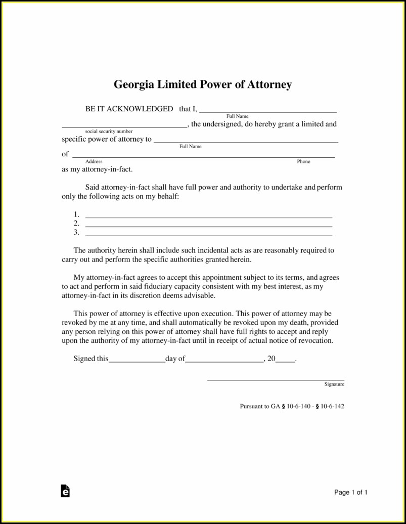 Free Limited Power Of Attorney Form Georgia