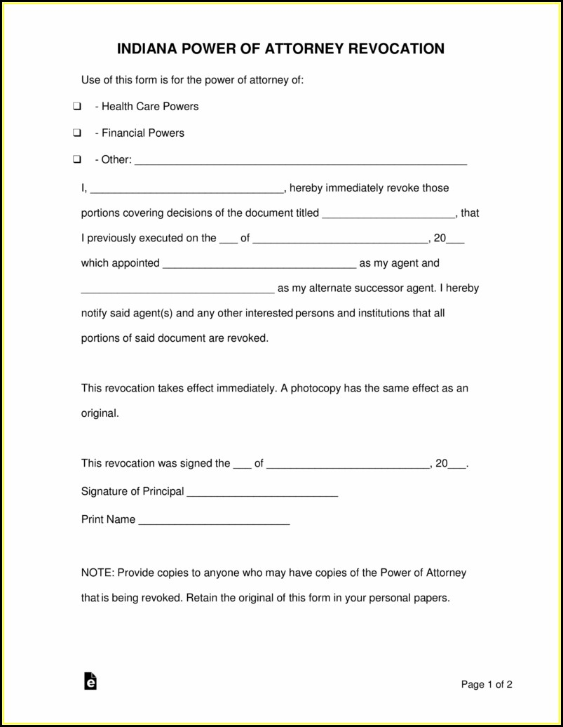 Free Power Of Attorney Form Indiana