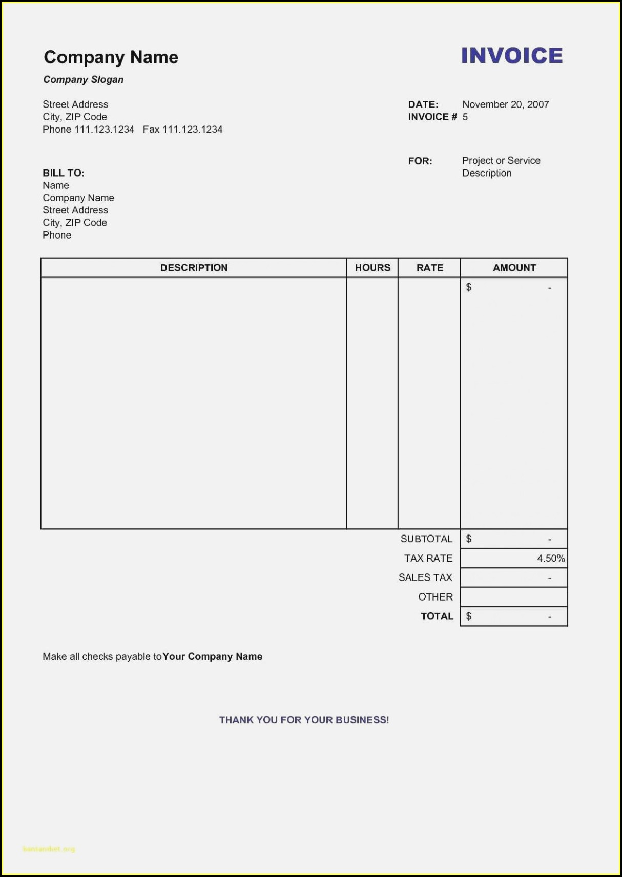 Free Printable Business Invoice Forms