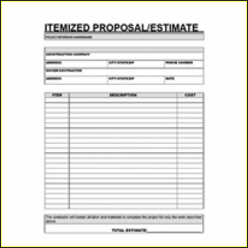 Free Printable Contractor Proposal Forms