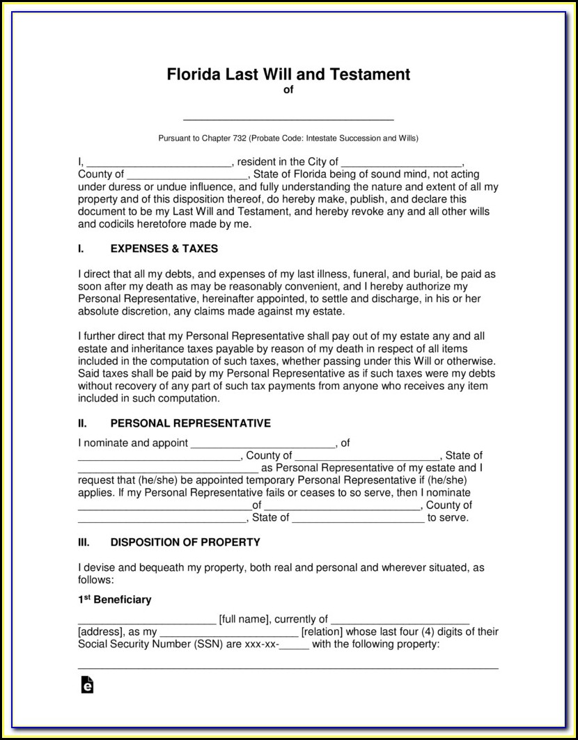 Free Printable Florida Last Will And Testament Form