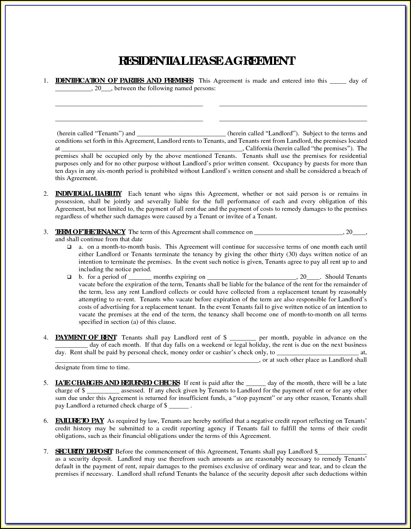 Free Printable Rental Agreement Forms In Spanish