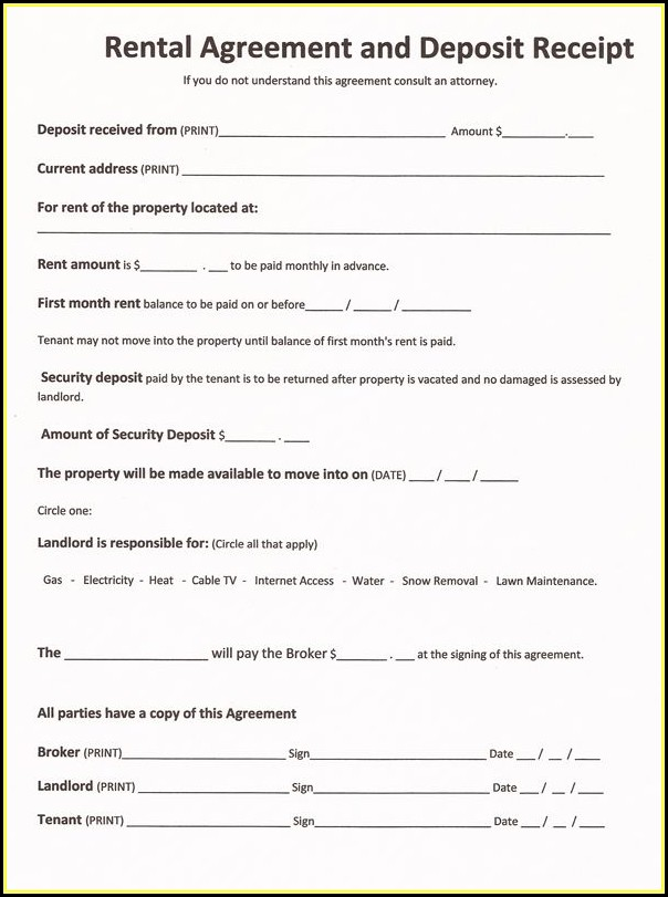 Free Rental Agreement Forms To Print