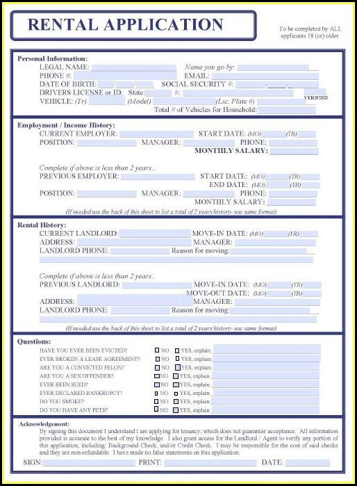Free Rental Application Form Printable