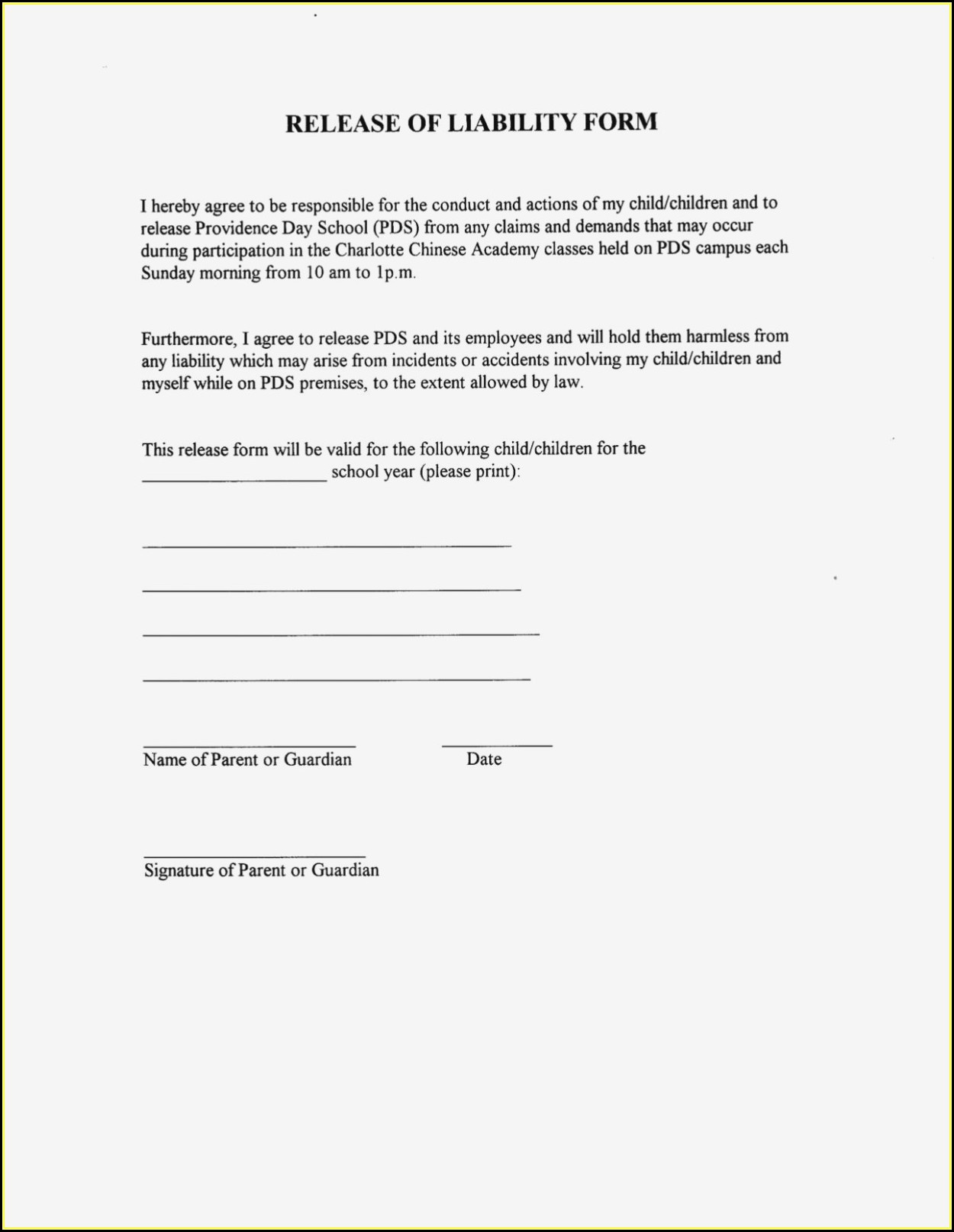 General Liability Waiver Form Canada