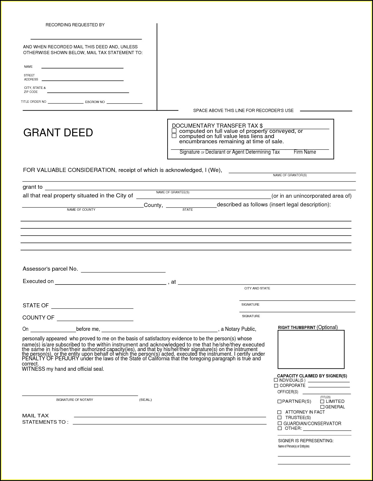 Grant Deed Form California Los Angeles County