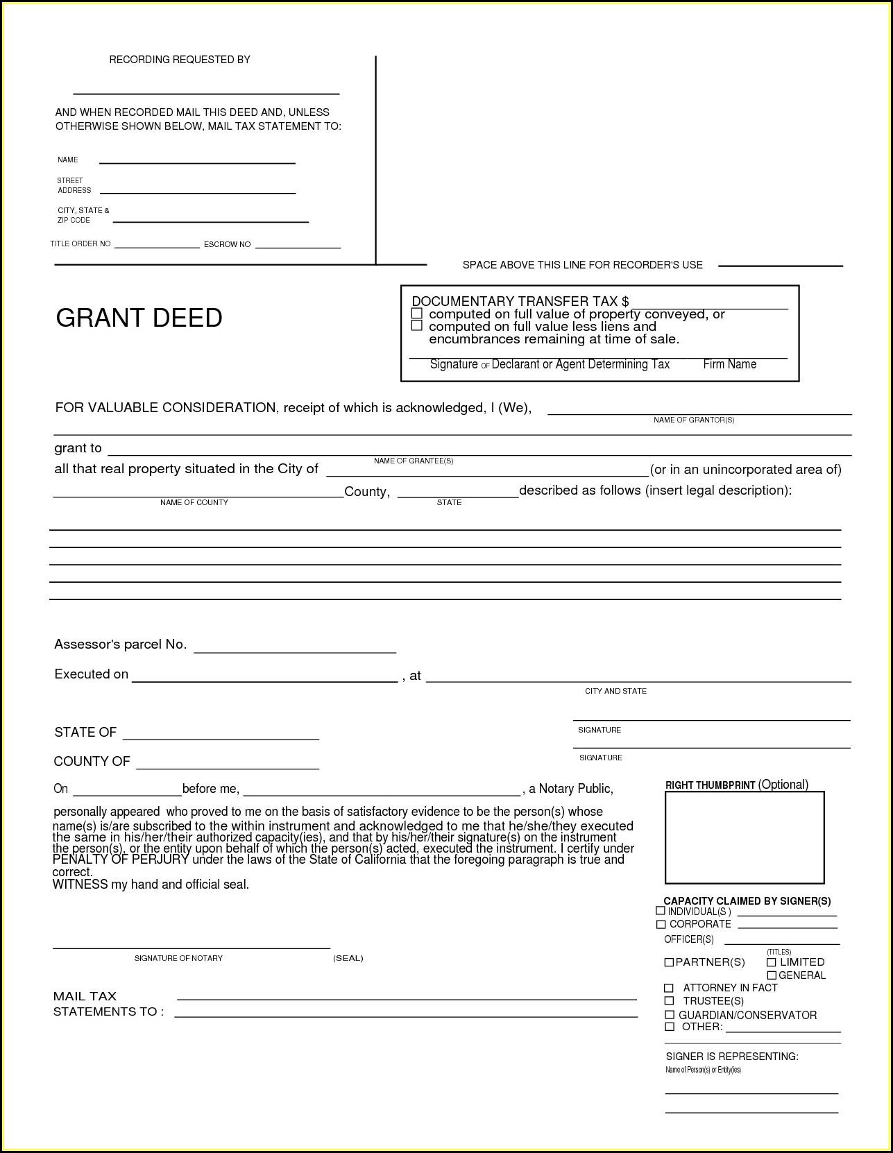 Grant Deed Form California Los Angeles County