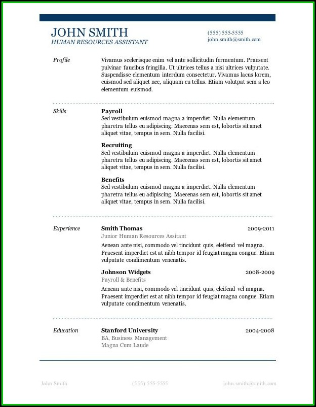 Job Resume Templates Free Microsoft Word
