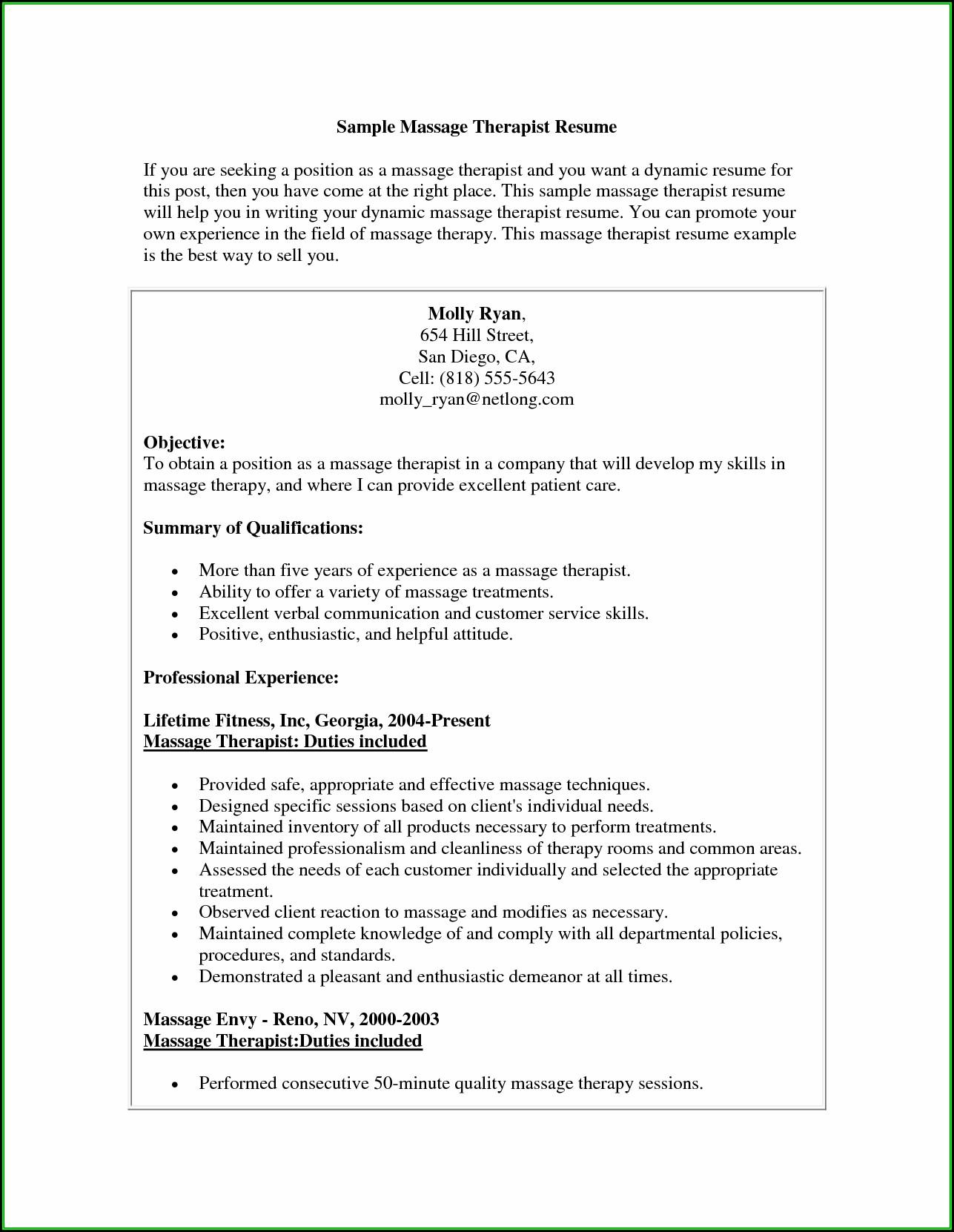 Massage Therapist Resume Objective