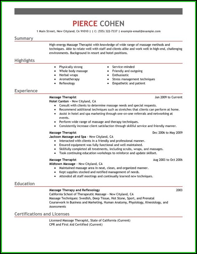 Massage Therapist Resume Summary