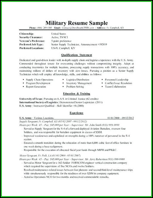 Military One Source Resume Templates