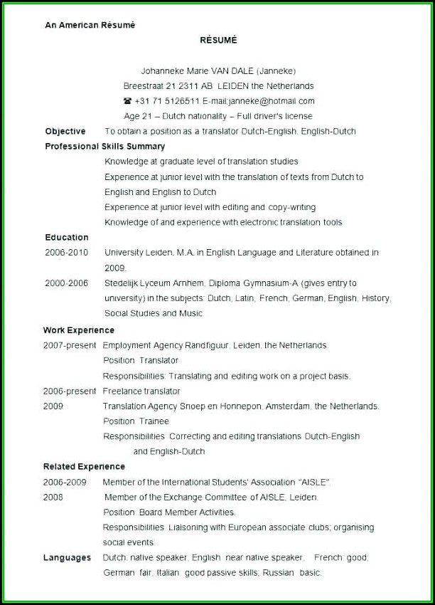 Nursing Resume Format Pdf Download