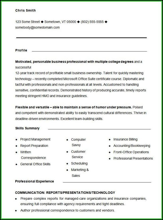 Printable Functional Resume Sample