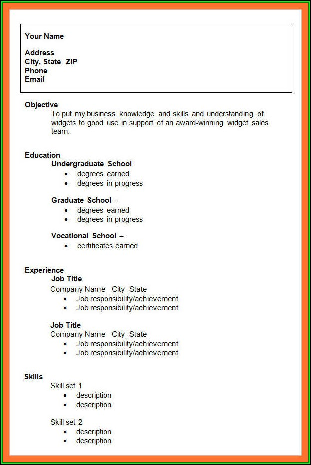 Printable Sample Resumes For Free