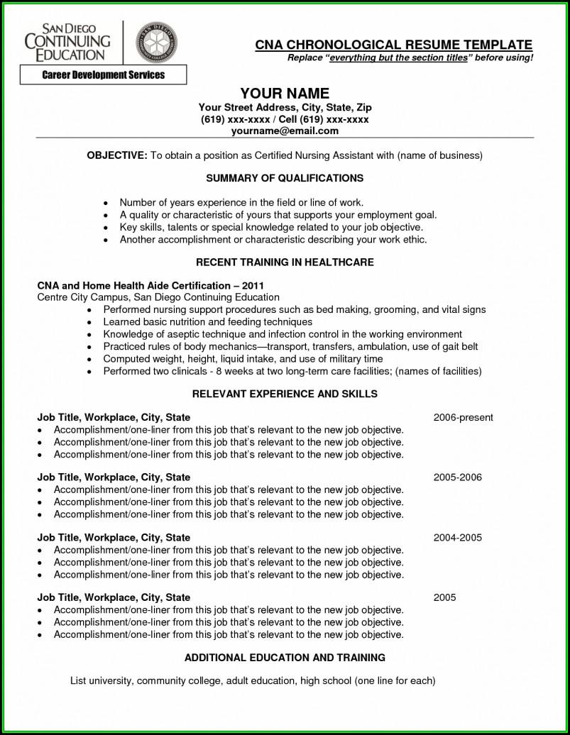 Resume Cna Job Description