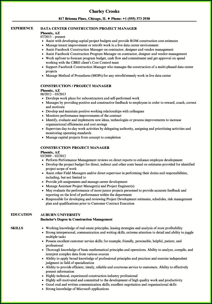 Resume Examples For Project Managers In Construction