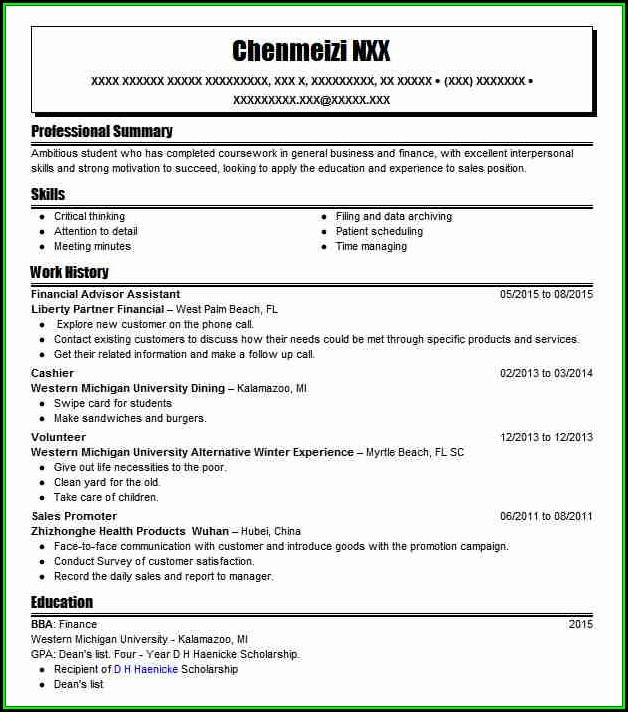 Resume Financial Advisor Assistant