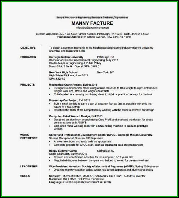Resume For Freshers Engineers Mechanical