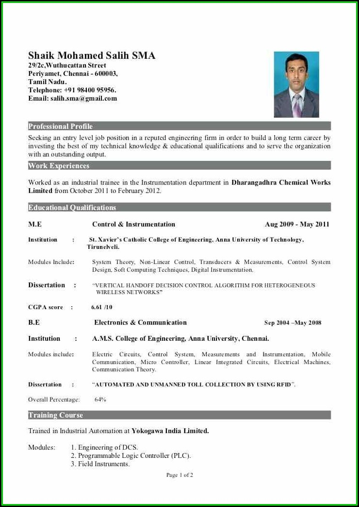 Resume For Freshers Engineers
