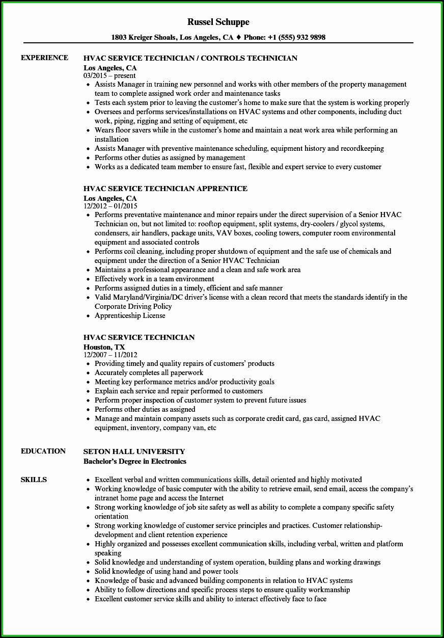 Resume For Hvac Service Technician