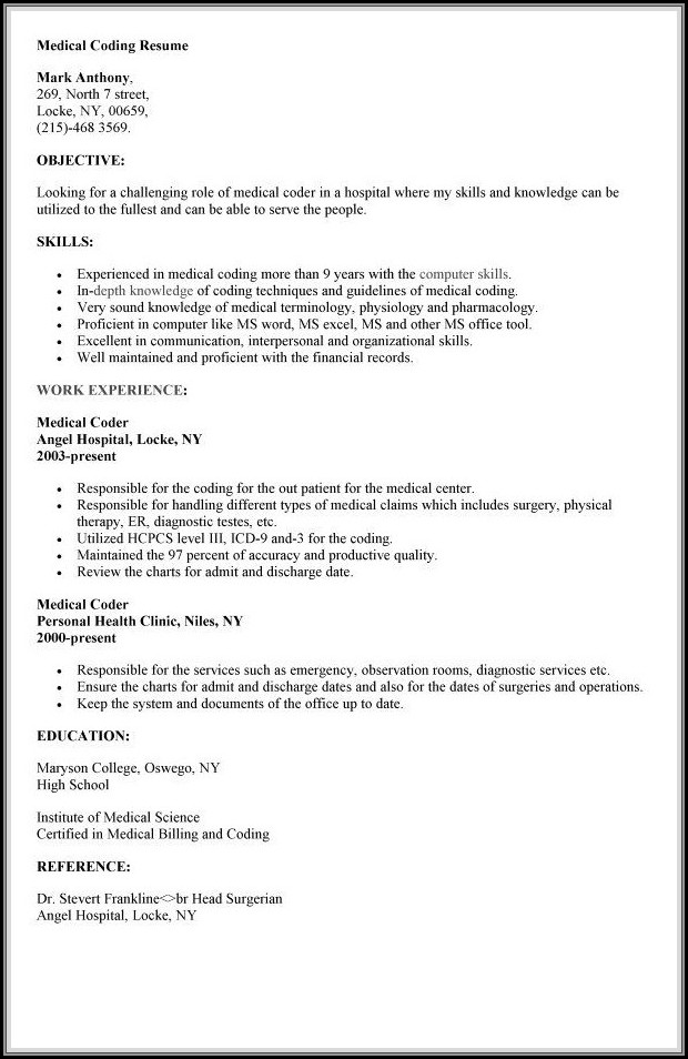 Resume For Medical Billing And Coding With Experience