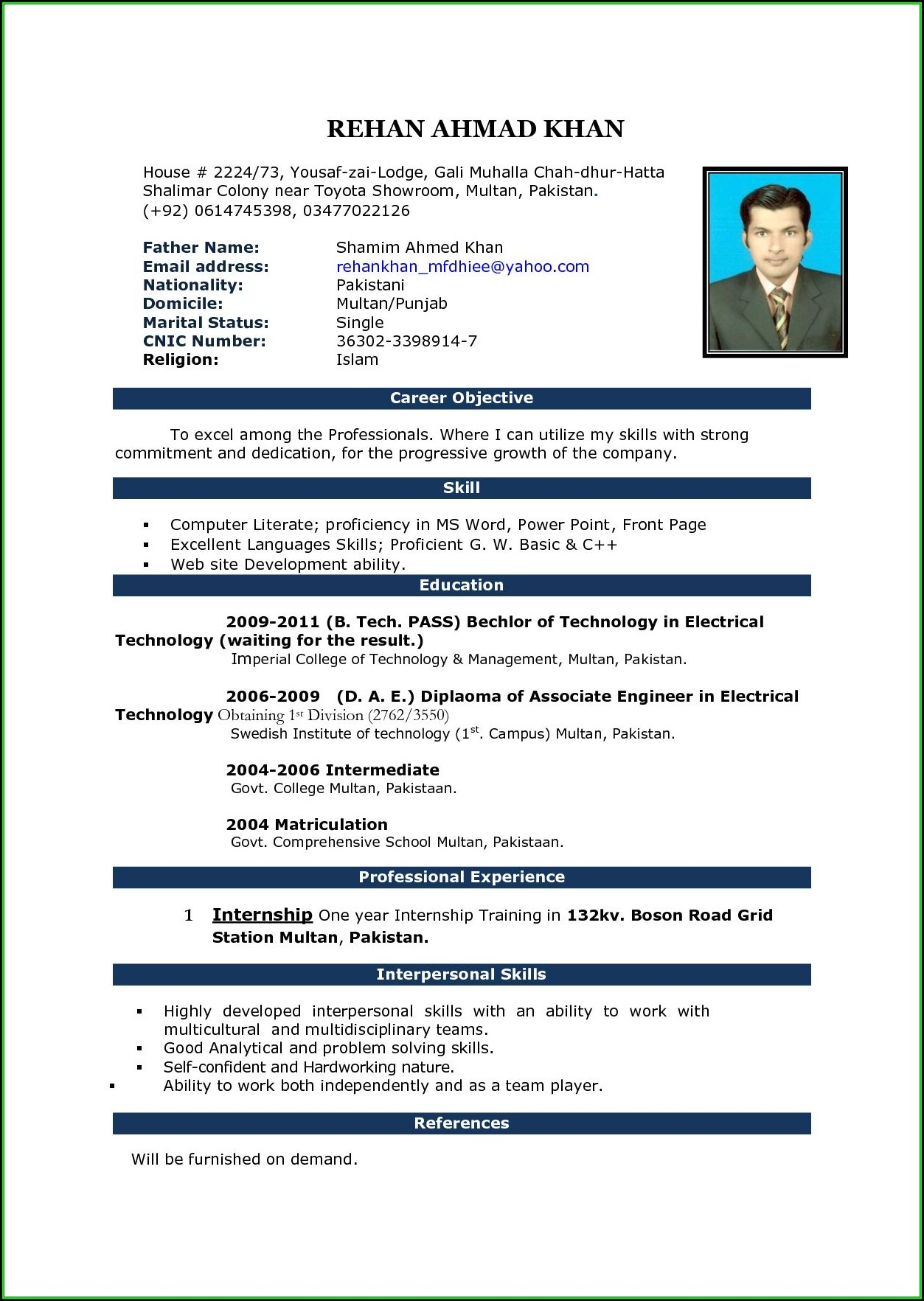 Resume Format Free Download In Ms Word