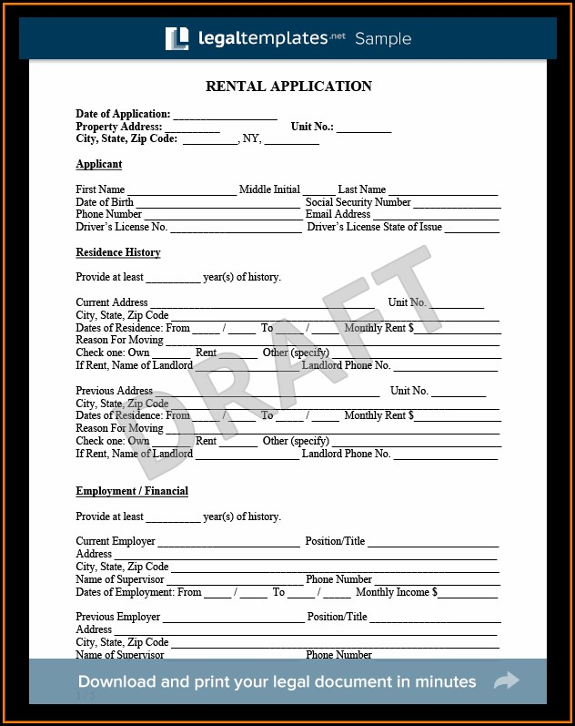 Microsoft Word Rental Application Template