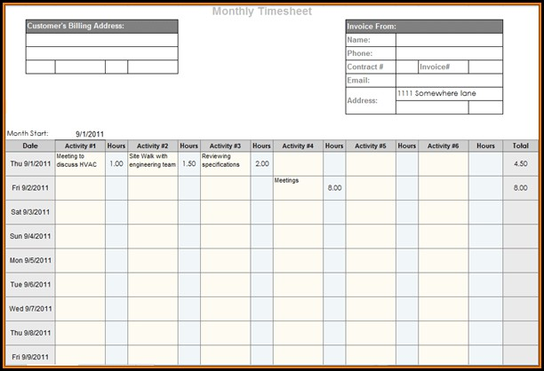 Online Timesheet Template Free