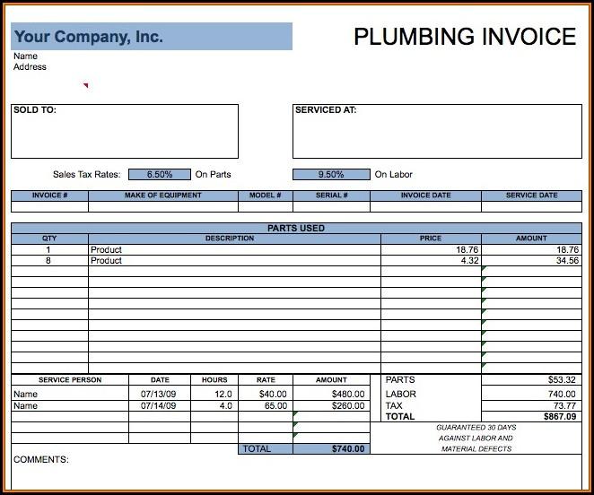 Plumbers Invoice Template Free
