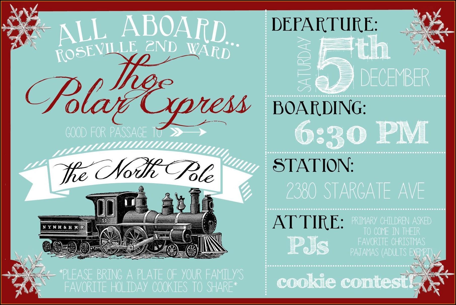 Polar Express Party Invitation Template Free