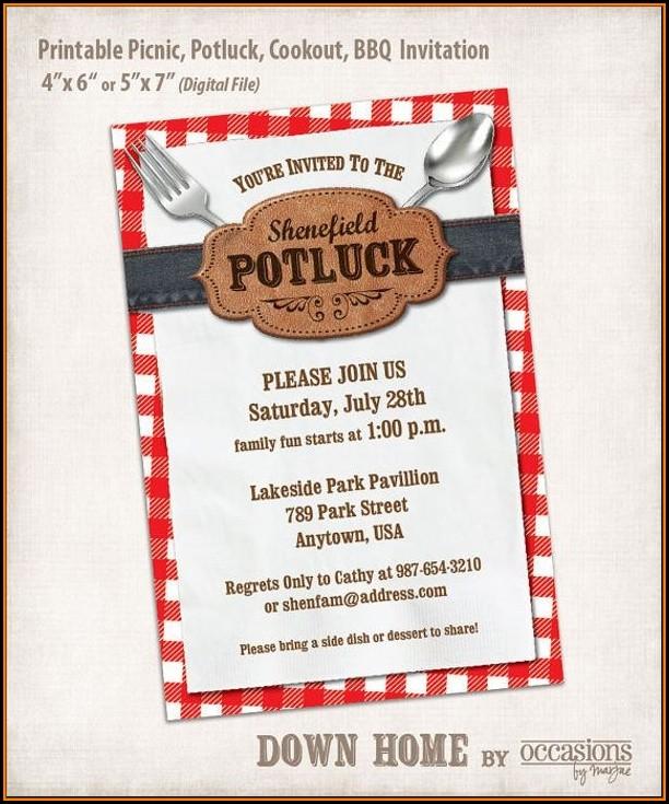 Potluck Email Invitation Template