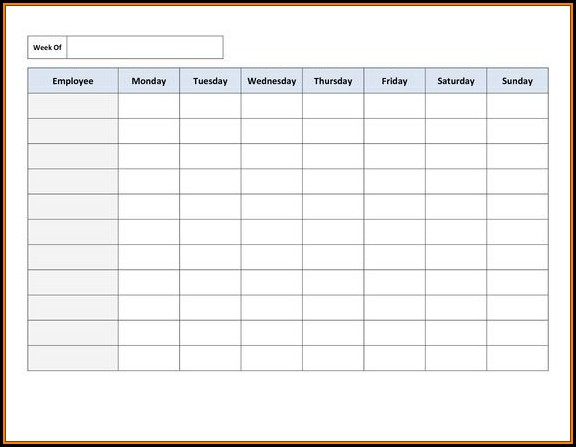 Printable Employee Schedule Template