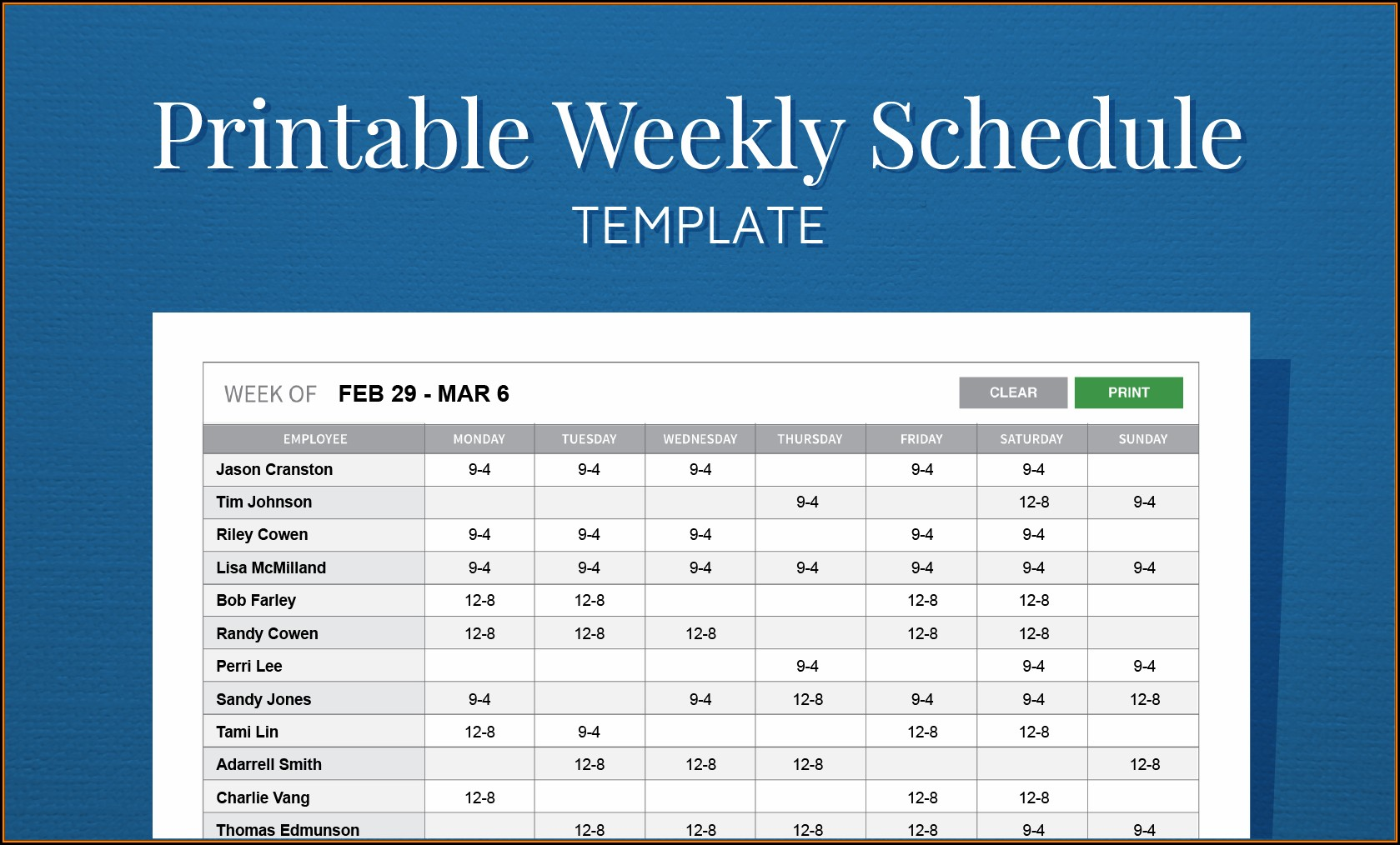 Printable Employee Work Schedule Template