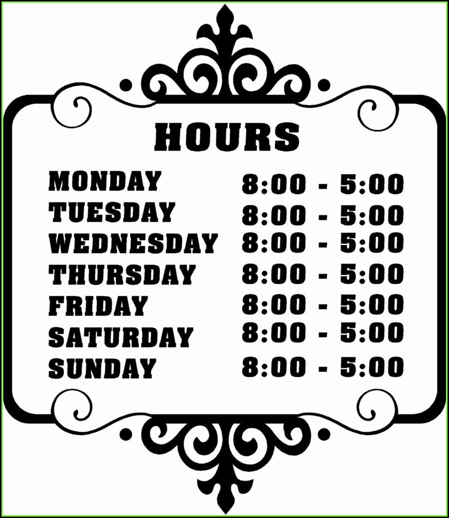 Business Hours Sign Template Word