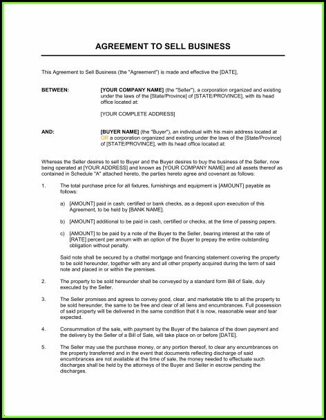 Business Purchase Agreement Template Word